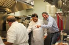 Chef Lou Rook, Chef Adam and Chaumette Winemaker Mark Baehmann clown around between courses