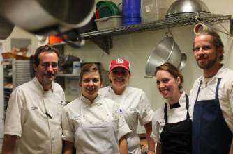 Chaumette Sous CHef Dan Linza, Annie Gunn's Sous Chef Jesse Mendica, Annie Gunn's Pastry Chef Danielle Bush, Chaumette Pastry Chef Jessica Hinkebein and Chaumette Guest Chef Ryan Maher, Owner Missouri Wild Edibles