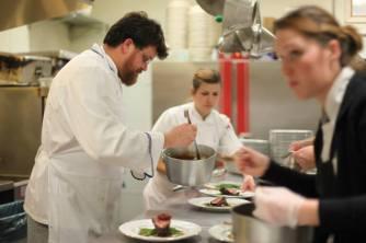 Chaumette Chef Adam Lambay & team plate the lamb