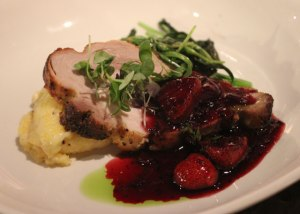 spit-roasted Rain Crow Ranch pork loin  with local strawberry & herb compote;