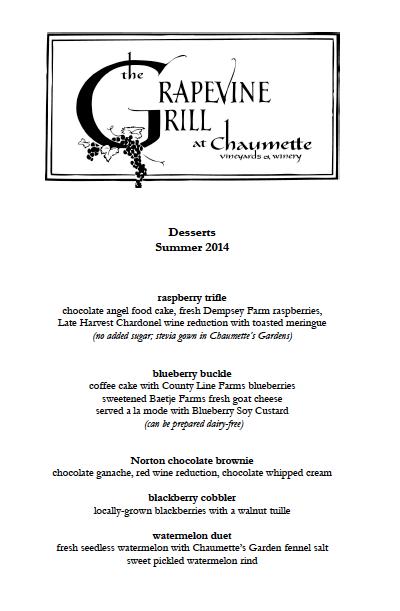 Chaumette Summer Desserts 2014